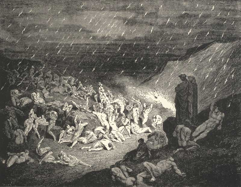 canto 14 the inferno The Violent tortured in the rain of fire
